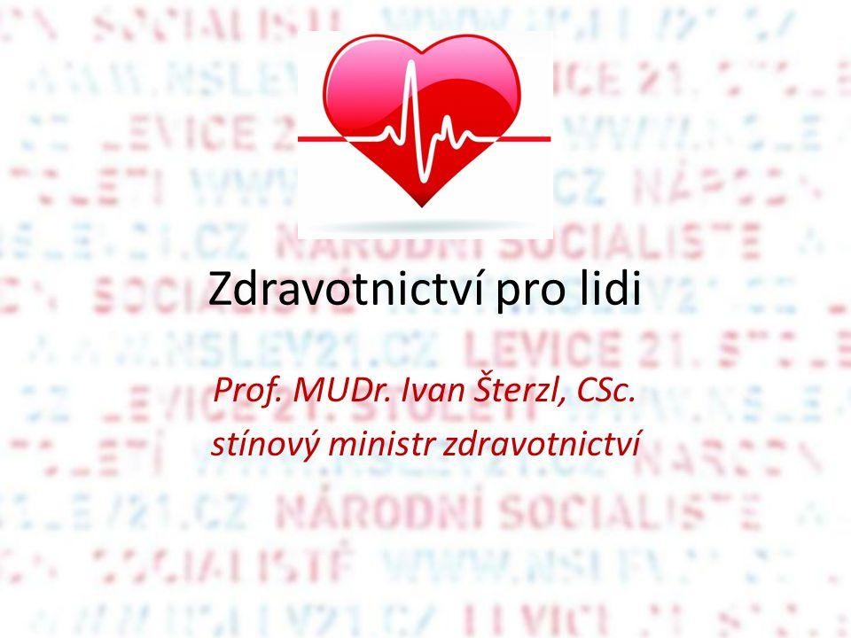 Zdravotnictví pro lidi Prof. MUDr. Ivan Šterzl, CSc. stínový ministr zdravotnictví