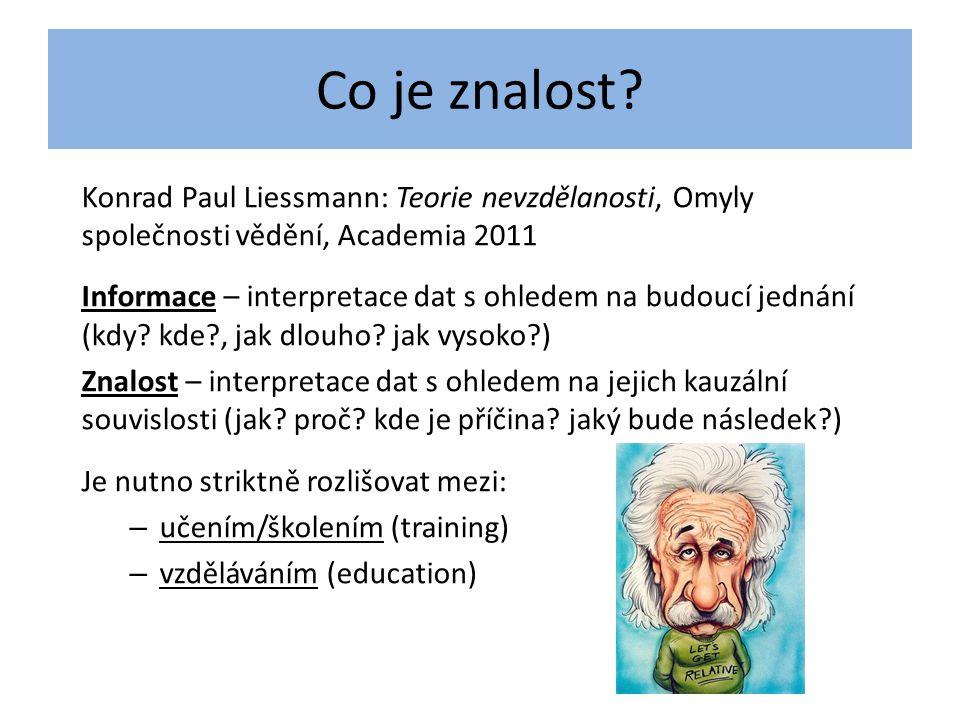 Co je znalost? Konrad Paul Liessmann: Teorie nevzdělanosti, Omyly společnosti vědění, Academia 2011 Informace – interpretace dat s ohledem na budoucí