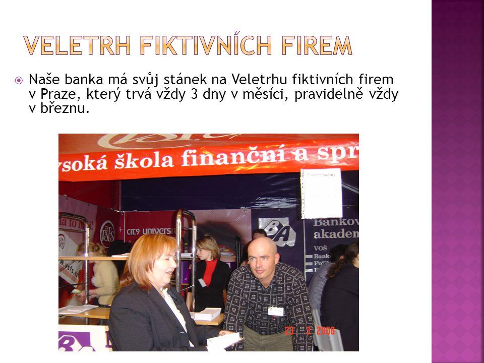  Naše banka má svůj stánek na Veletrhu fiktivních firem v Praze, který trvá vždy 3 dny v měsíci, pravidelně vždy v březnu.