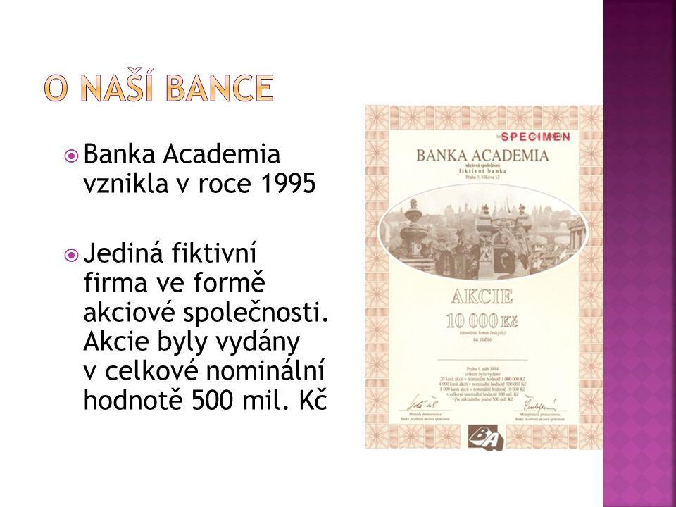  Banka Academia vznikla v roce 1995  Jediná fiktivní firma ve formě akciové společnosti. Akcie byly vydány v celkové nominální hodnotě 500 mil. Kč