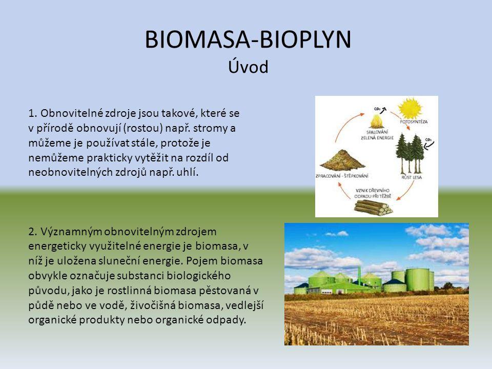 BIOMASA-BIOPLYN Úvod 1. Obnovitelné zdroje jsou takové, které se v přírodě obnovují (rostou) např. stromy a můžeme je používat stále, protože je nemůž