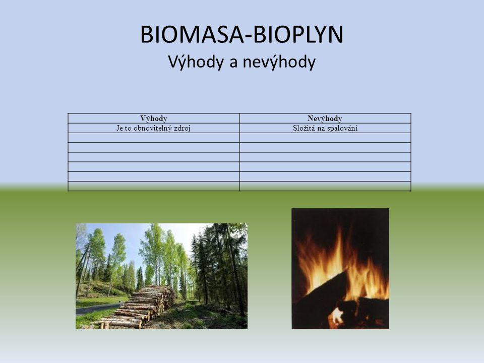 BIOMASA-BIOPLYN Výhody a nevýhody VýhodyNevýhody Je to obnovitelný zdrojSložitá na spalování
