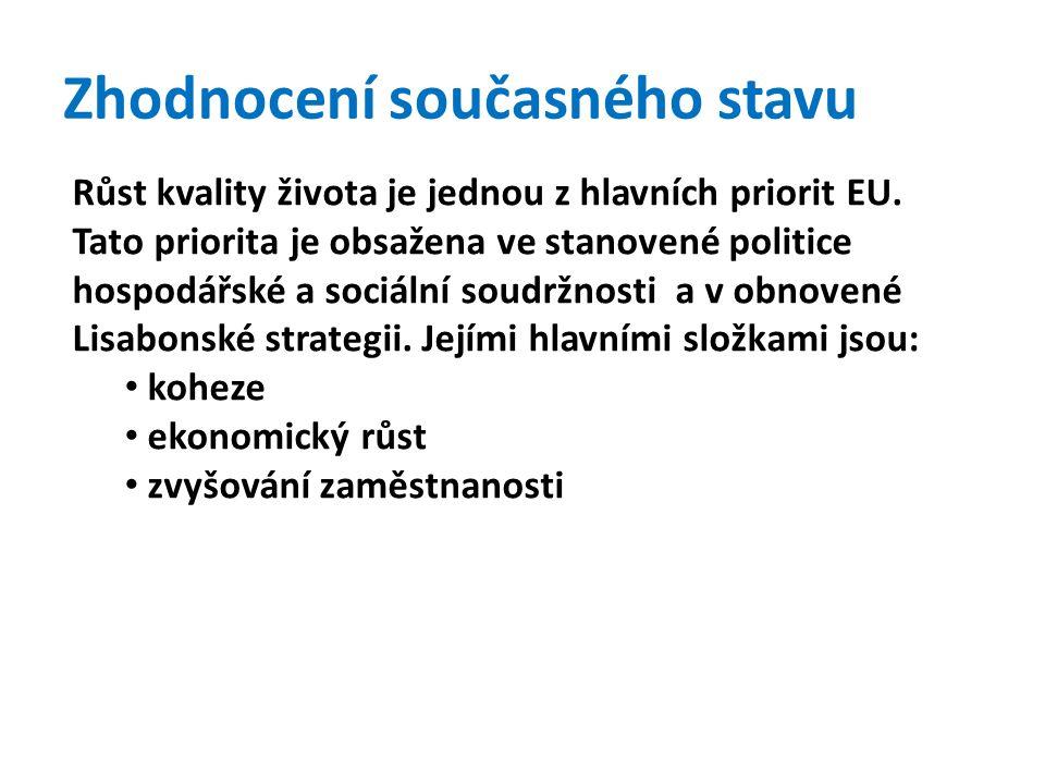 Zhodnocení současného stavu Růst kvality života je jednou z hlavních priorit EU.