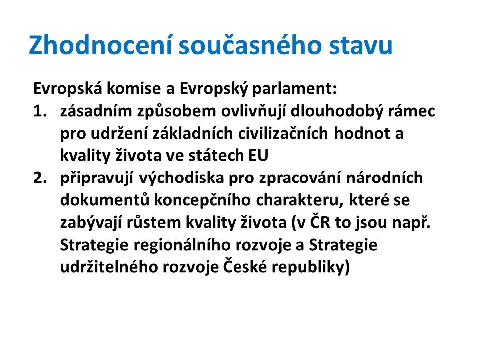 Zhodnocení současného stavu Evropská komise a Evropský parlament: 1.zásadním způsobem ovlivňují dlouhodobý rámec pro udržení základních civilizačních hodnot a kvality života ve státech EU 2.připravují východiska pro zpracování národních dokumentů koncepčního charakteru, které se zabývají růstem kvality života (v ČR to jsou např.