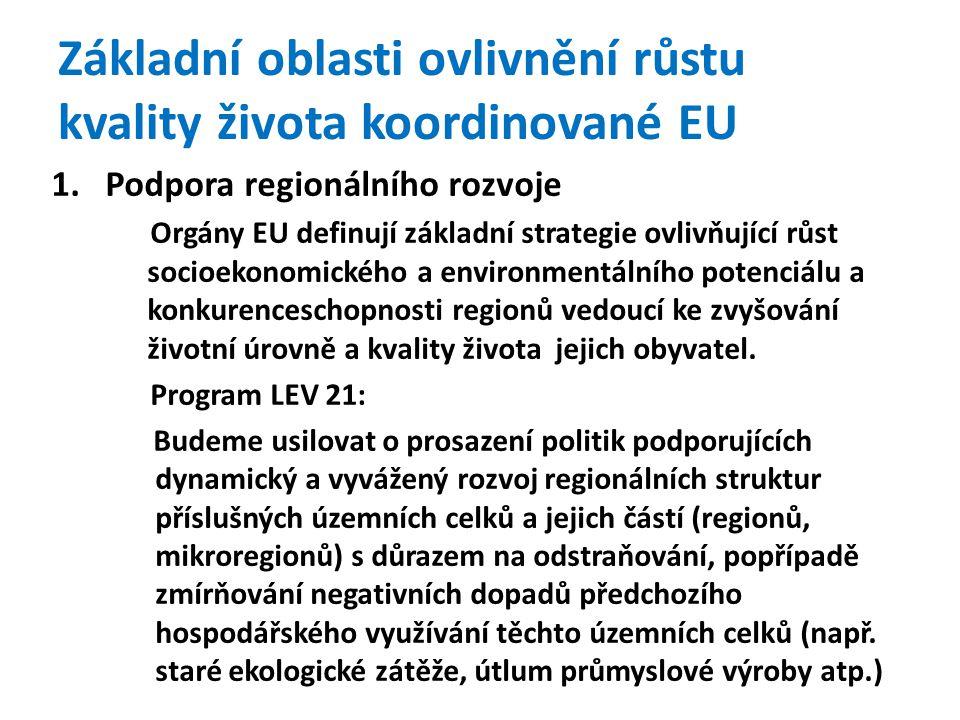 Základní oblasti ovlivnění růstu kvality života koordinované EU 1.Podpora regionálního rozvoje Orgány EU definují základní strategie ovlivňující růst socioekonomického a environmentálního potenciálu a konkurenceschopnosti regionů vedoucí ke zvyšování životní úrovně a kvality života jejich obyvatel.