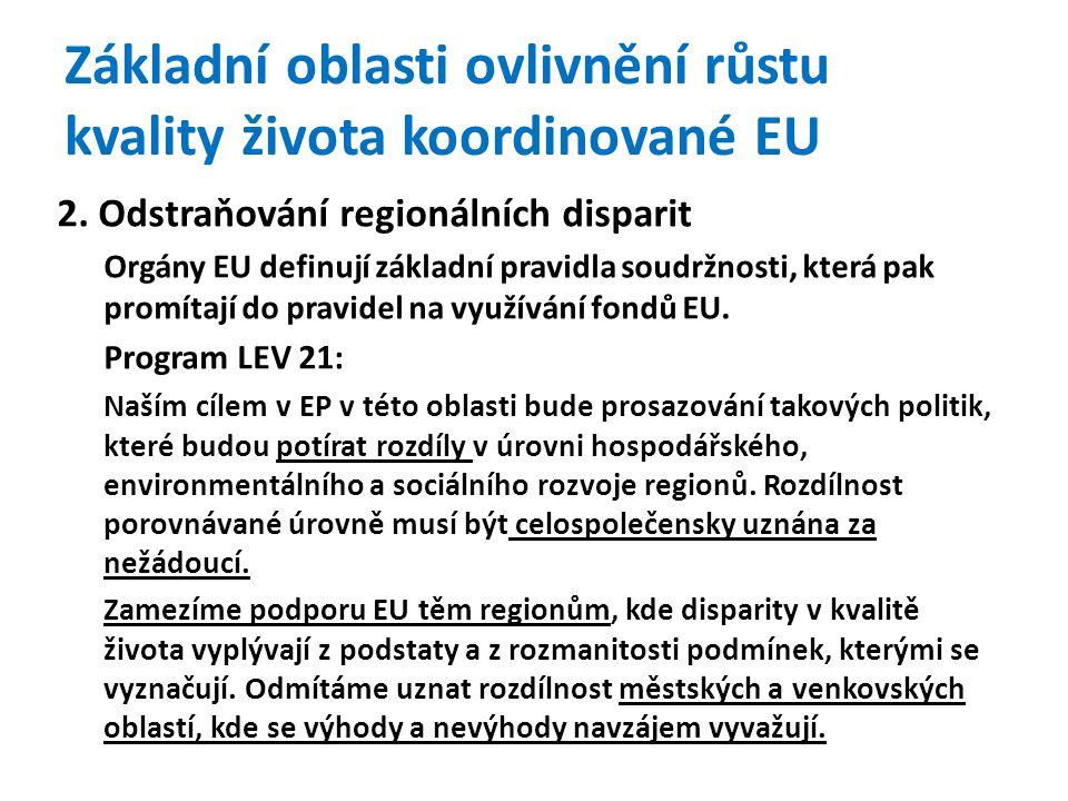 Základní oblasti ovlivnění růstu kvality života koordinované EU 2.