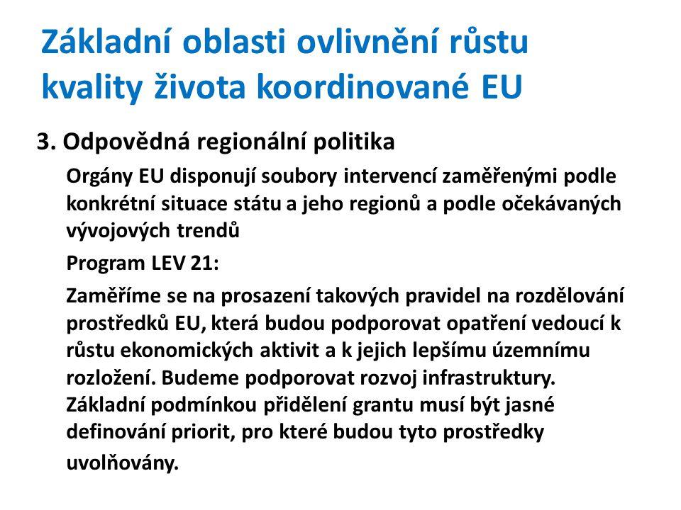 Základní oblasti ovlivnění růstu kvality života koordinované EU 3.