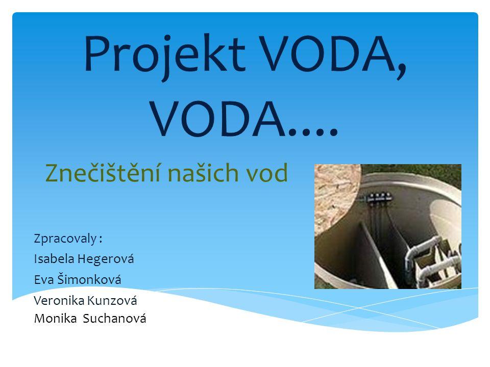 Projekt VODA, VODA.... Znečištění našich vod Zpracovaly : Isabela Hegerová Eva Šimonková Veronika Kunzová Monika Suchanová