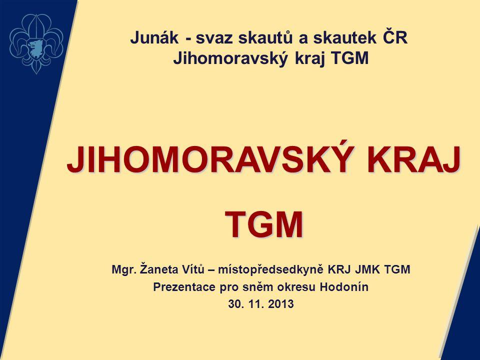 Mgr. Žaneta Vítů – místopředsedkyně KRJ JMK TGM Prezentace pro sněm okresu Hodonín 30. 11. 2013 JIHOMORAVSKÝ KRAJ TGM Junák - svaz skautů a skautek ČR