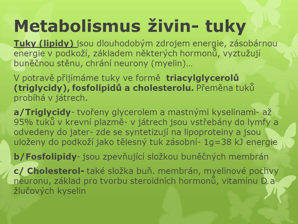Metabolismus živin- tuky Tuky (lipidy) jsou dlouhodobým zdrojem energie, zásobárnou energie v podkoží, základem některých hormonů, vyztužují buněčnou stěnu, chrání neurony (myelin)… V potravě přijímáme tuky ve formě triacylglycerolů (triglycidy), fosfolipidů a cholesterolu.