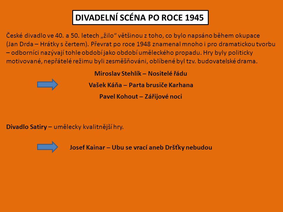 """DIVADELNÍ SCÉNA PO ROCE 1945 České divadlo ve 40. a 50. letech """"žilo"""" většinou z toho, co bylo napsáno během okupace (Jan Drda – Hrátky s čertem). Pře"""