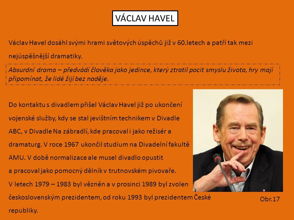 VÁCLAV HAVEL Václav Havel dosáhl svými hrami světových úspěchů již v 60.letech a patří tak mezi nejúspěšnější dramatiky. Absurdní drama – předvádí člo