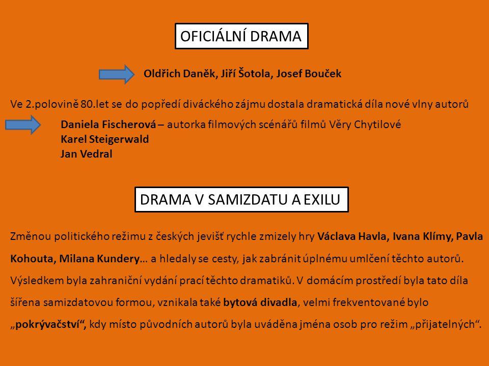 OFICIÁLNÍ DRAMA Oldřich Daněk, Jiří Šotola, Josef Bouček Ve 2.polovině 80.let se do popředí diváckého zájmu dostala dramatická díla nové vlny autorů D