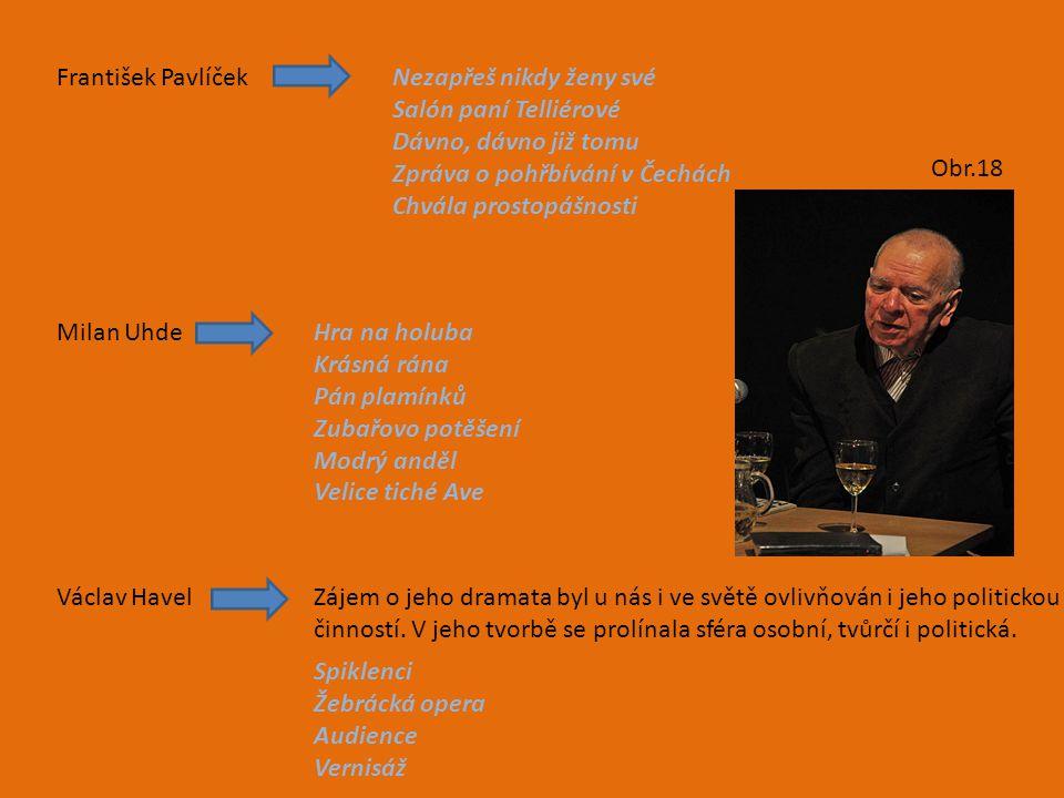 František PavlíčekNezapřeš nikdy ženy své Salón paní Telliérové Dávno, dávno již tomu Zpráva o pohřbívání v Čechách Chvála prostopášnosti Milan UhdeHr