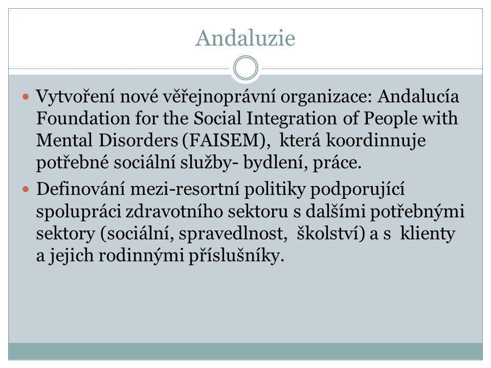 Andaluzie  Vytvoření nové věřejnoprávní organizace: Andalucía Foundation for the Social Integration of People with Mental Disorders (FAISEM), která k