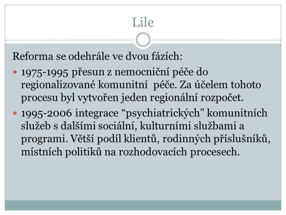 Lile Reforma se odehrále ve dvou fázích:  1975-1995 přesun z nemocniční péče do regionalizované komunitní péče. Za účelem tohoto procesu byl vytvořen