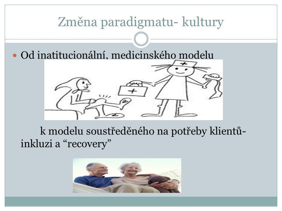 """Změna paradigmatu- kultury  Od inatitucionální, medicinského modelu k modelu soustředěného na potřeby klientů- inkluzi a """"recovery"""""""