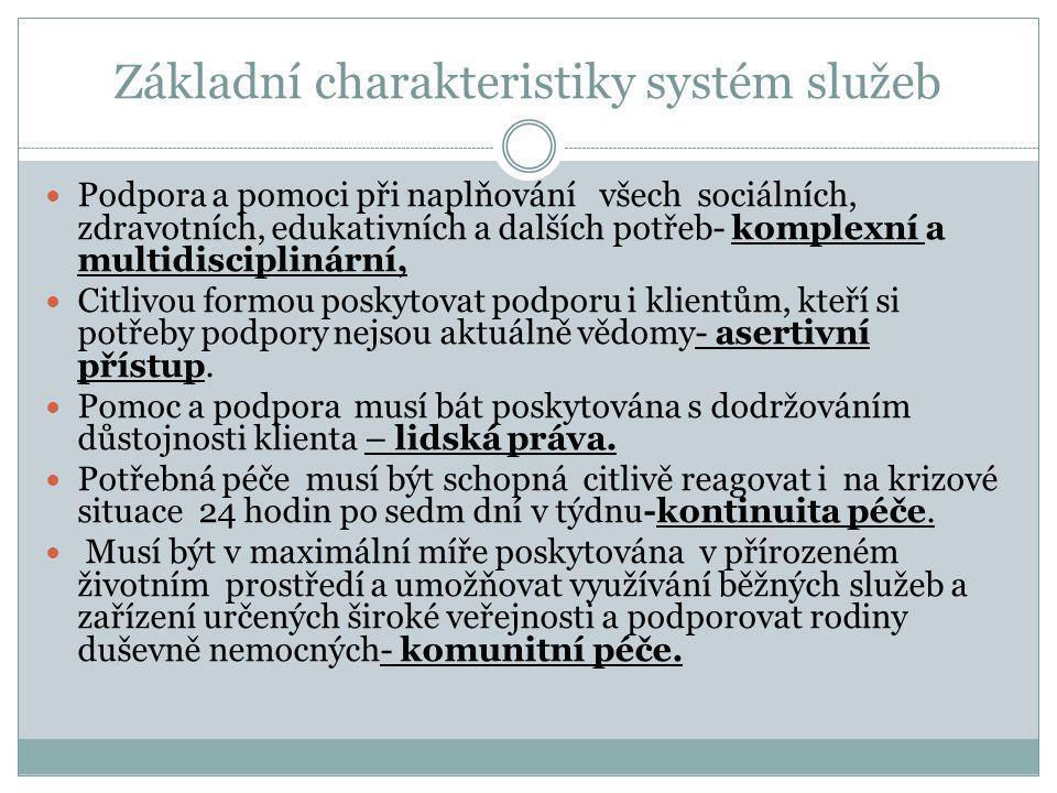 Základní charakteristiky systém služeb  Podpora a pomoci při naplňování všech sociálních, zdravotních, edukativních a dalších potřeb- komplexní a mul
