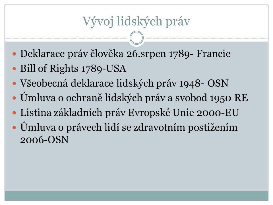 Vývoj lidských práv  Deklarace práv člověka 26.srpen 1789- Francie  Bill of Rights 1789-USA  Všeobecná deklarace lidských práv 1948- OSN  Úmluva o