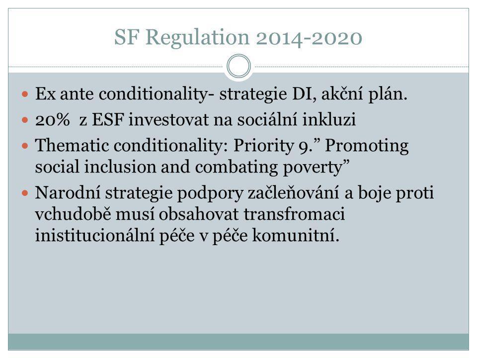 SF Regulation 2014-2020  Ex ante conditionality- strategie DI, akční plán.  20% z ESF investovat na sociální inkluzi  Thematic conditionality: Prio