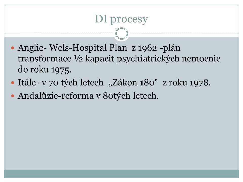 """DI procesy  Anglie- Wels-Hospital Plan z 1962 -plán transformace ½ kapacit psychiatrických nemocnic do roku 1975.  Itále- v 70 tých letech """"Zákon 18"""