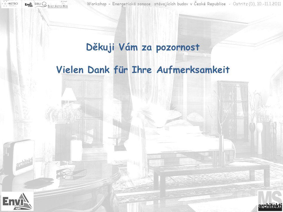 Děkuji Vám za pozornost Vielen Dank für Ihre Aufmerksamkeit Workshop - Energetická sanace stávajících budov v České Republice - Ostritz (D), 10.-11.1.