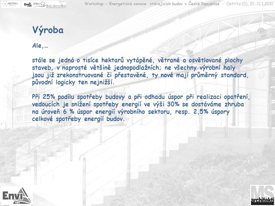Workshop - Energetická sanace stávajících budov v České Republice - Ostritz (D), 10.-11.1.2011 Komerční sektor, administrativa, veřejný sektor Spotřeby – teplo 21% (ca.