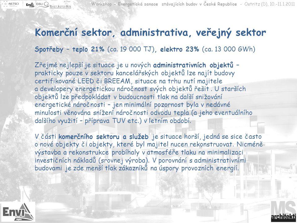 Workshop - Energetická sanace stávajících budov v České Republice - Ostritz (D), 10.-11.1.2011 Doporučení k cílovým skupinám Výrobní sféra a obchod Potenciál úspor energií u budov je velký, zájem této skupiny minimální – snížení nákladů není v porovnání s potenciálem vlastní výroby/prodeje významné, návratnost vložených prostředků bývá za hranicí přijatelnosti.