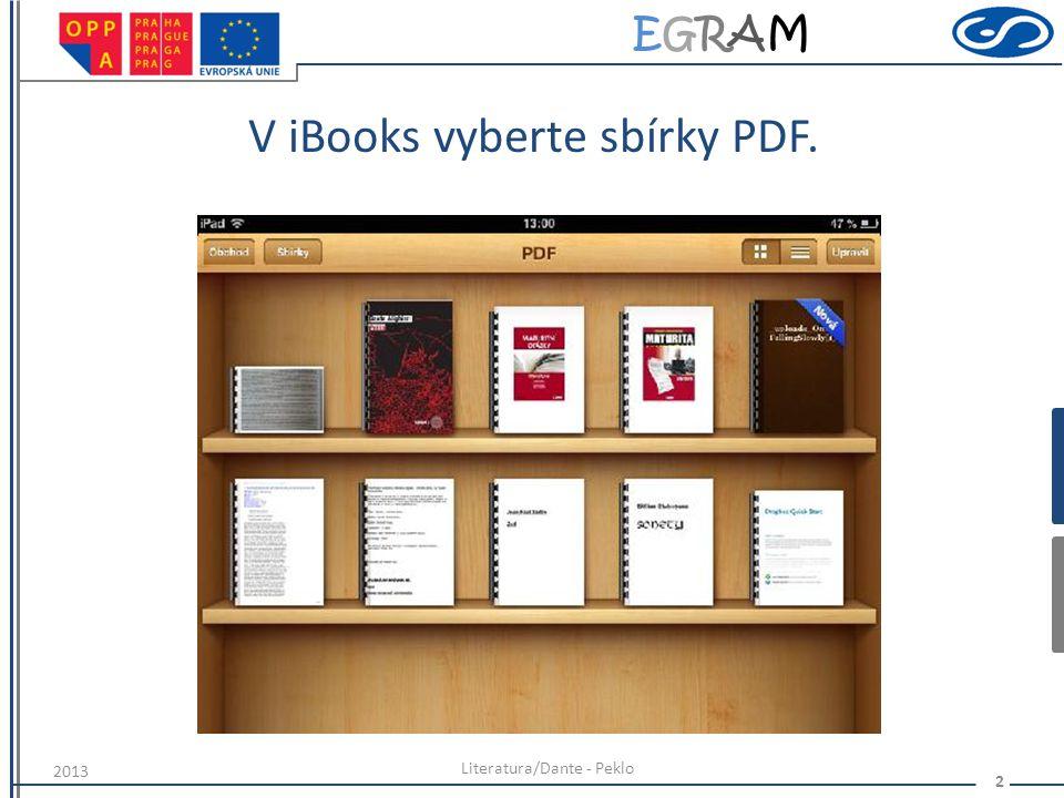 EGRAMEGRAM V iBooks vyberte sbírky PDF. Literatura/Dante - Peklo 2 2013
