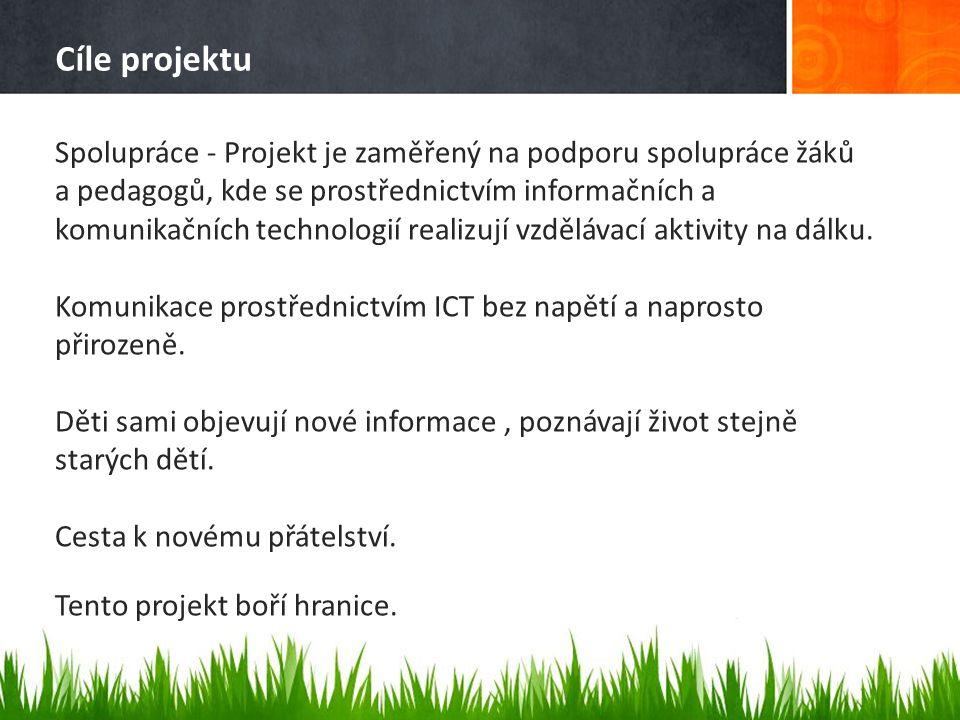 Cíle projektu Spolupráce - Projekt je zaměřený na podporu spolupráce žáků a pedagogů, kde se prostřednictvím informačních a komunikačních technologií