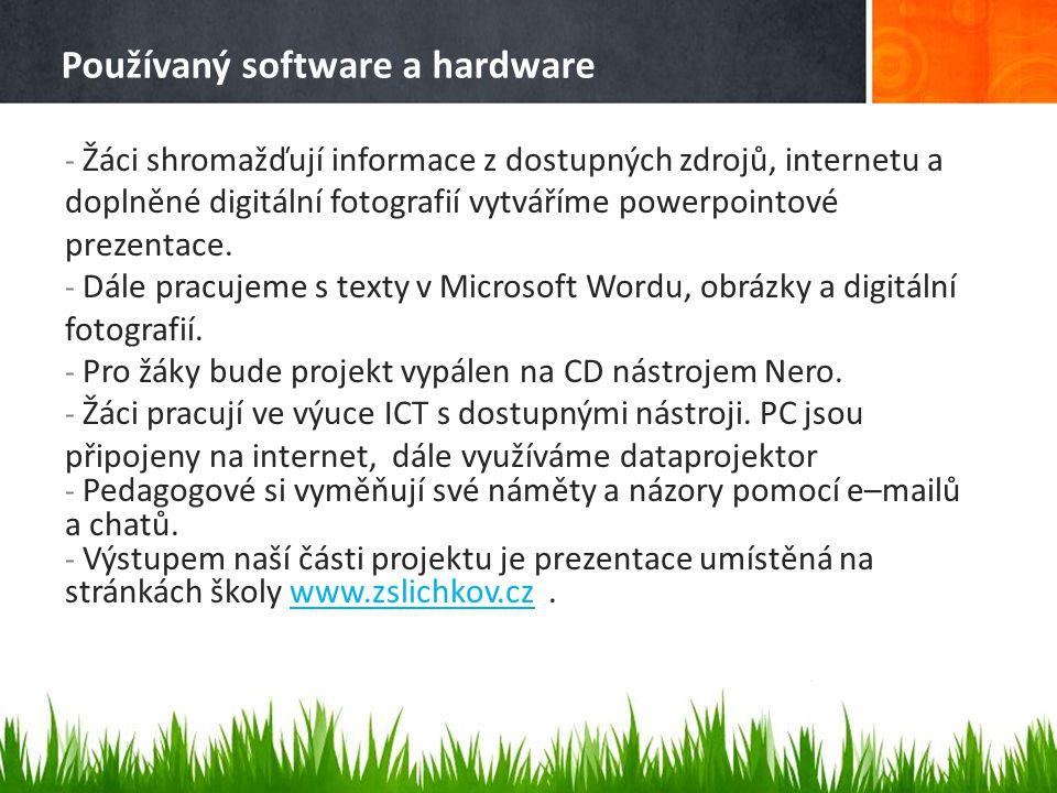 Používaný software a hardware - Žáci shromažďují informace z dostupných zdrojů, internetu a doplněné digitální fotografií vytváříme powerpointové prez