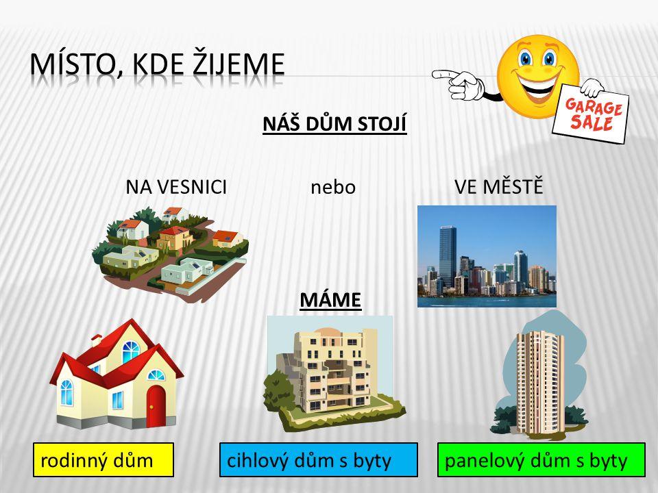 NÁŠ DŮM STOJÍ NA VESNICI nebo VE MĚSTĚ 5 rodinný důmcihlový dům s bytypanelový dům s byty MÁME