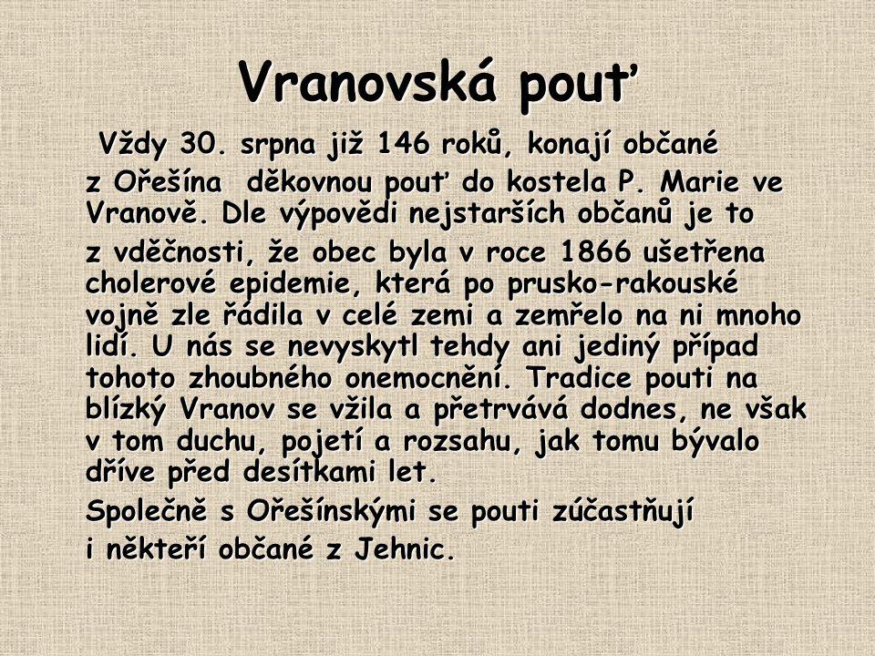 Vranovská pouť Vždy 30.srpna již 146 roků, konají občané Vždy 30.