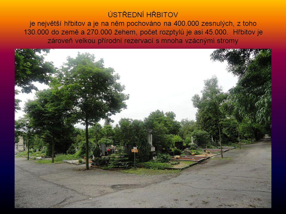 ÚSTŘEDNÍ HŘBITOV je největší hřbitov a je na něm pochováno na 400.000 zesnulých, z toho 130.000 do země a 270.000 žehem, počet rozptylů je asi 45.000.