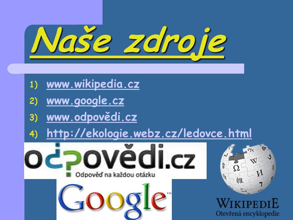 Naše zdroje 1) www.wikipedia.cz www.wikipedia.cz 2) www.google.cz www.google.cz 3) www.odpovědi.cz www.odpovědi.cz 4) http://ekologie.webz.cz/ledovce.