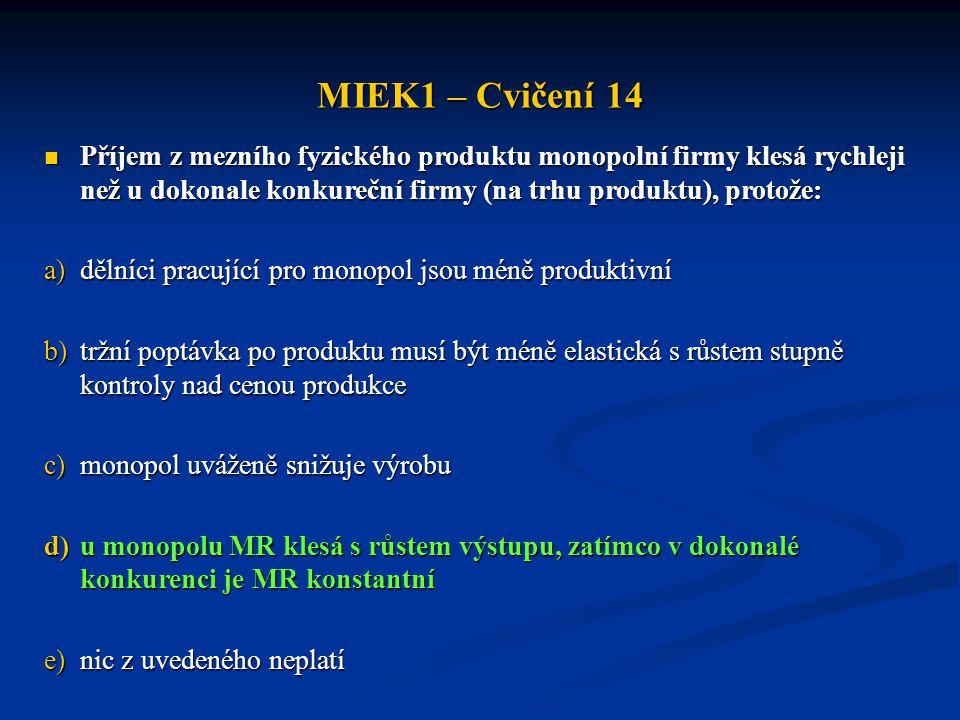MIEK1 – Cvičení 14  Příjem z mezního fyzického produktu monopolní firmy klesá rychleji než u dokonale konkureční firmy (na trhu produktu), protože: a
