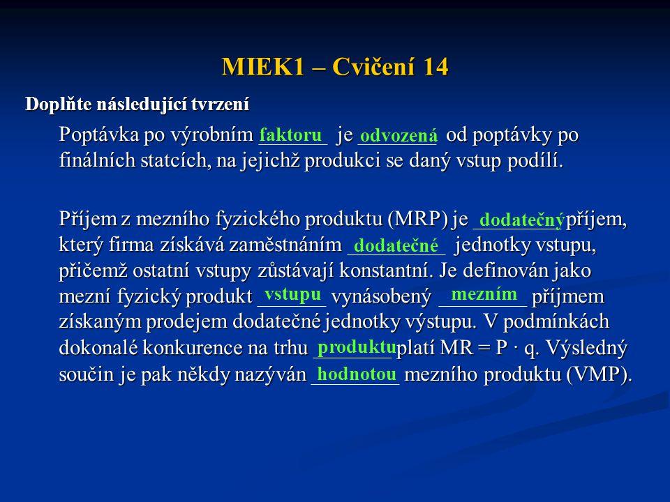 MIEK1 – Cvičení 14 Doplňte následující tvrzení Poptávka po výrobním je od poptávky po finálních statcích, na jejichž produkci se daný vstup podílí. Po