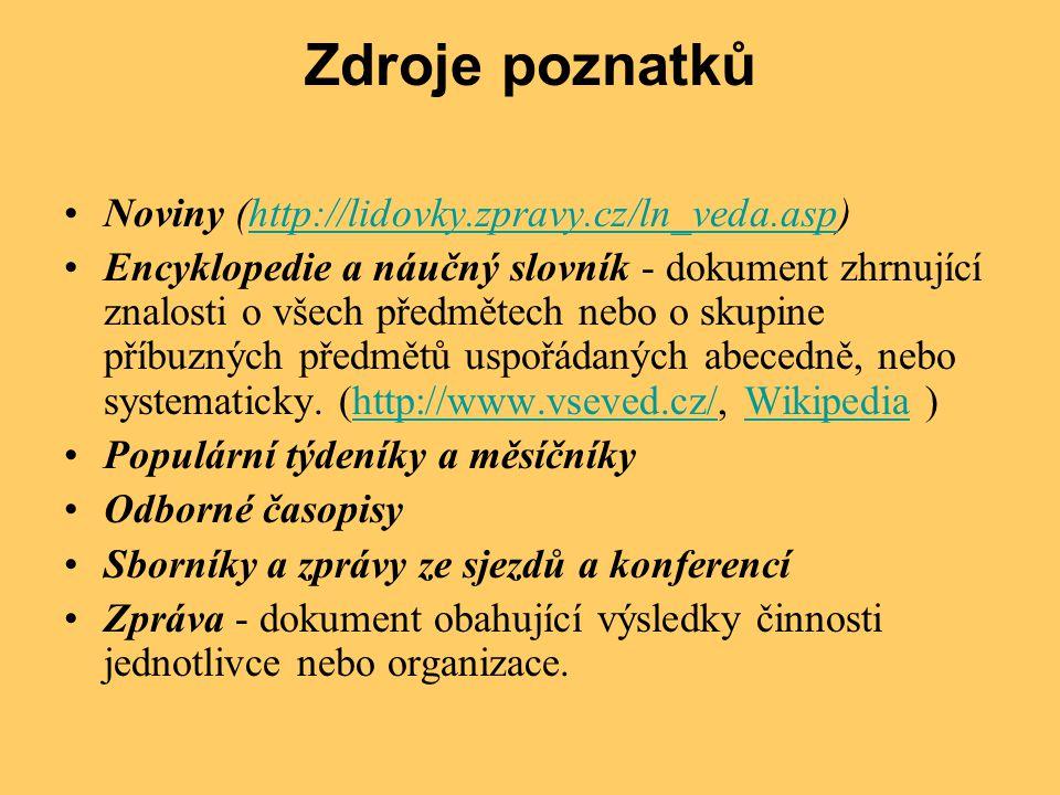 Zdroje poznatků •Noviny (http://lidovky.zpravy.cz/ln_veda.asp)http://lidovky.zpravy.cz/ln_veda.asp •Encyklopedie a náučný slovník - dokument zhrnující
