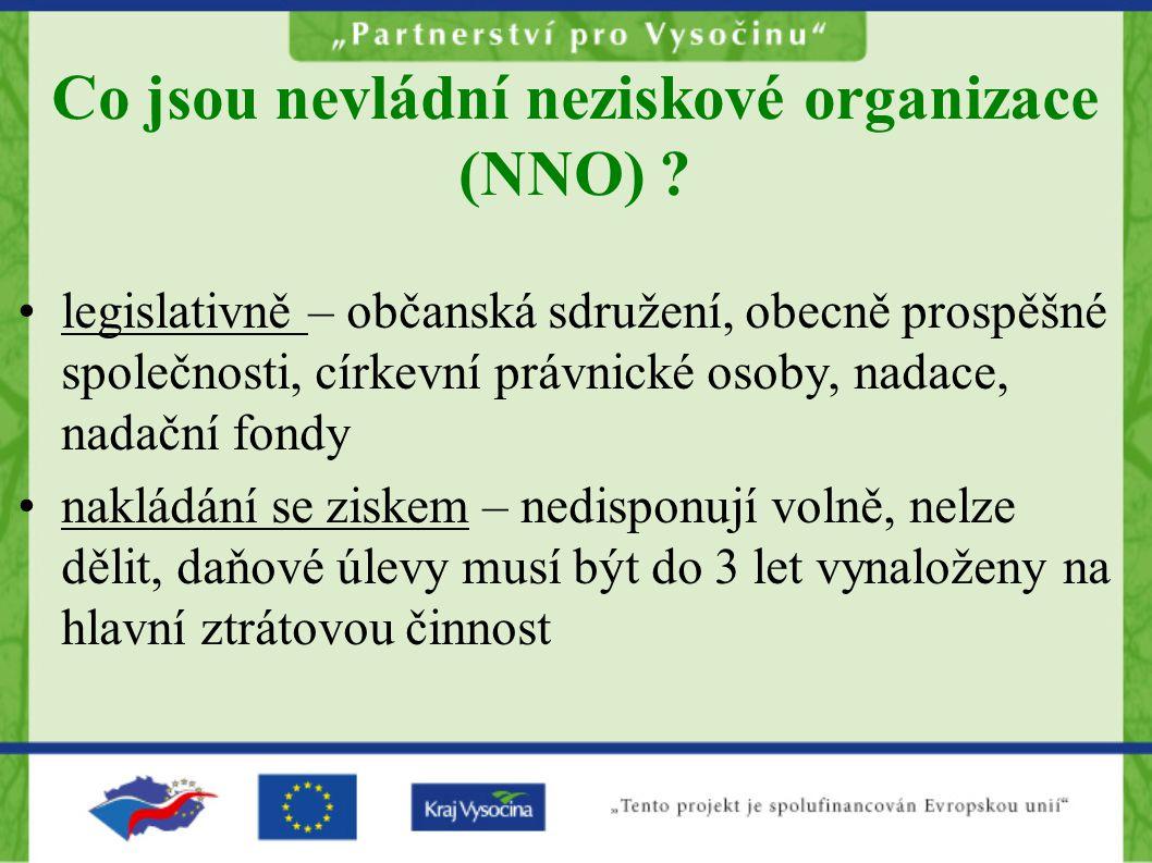 Co jsou nevládní neziskové organizace (NNO) ? •legislativně – občanská sdružení, obecně prospěšné společnosti, církevní právnické osoby, nadace, nadač