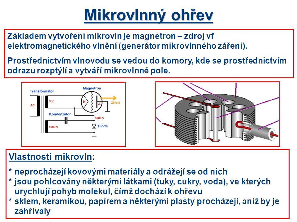 Mikrovlnný ohřev Základem vytvoření mikrovln je magnetron – zdroj vf elektromagnetického vlnění (generátor mikrovlnného záření). Prostřednictvím vlnov