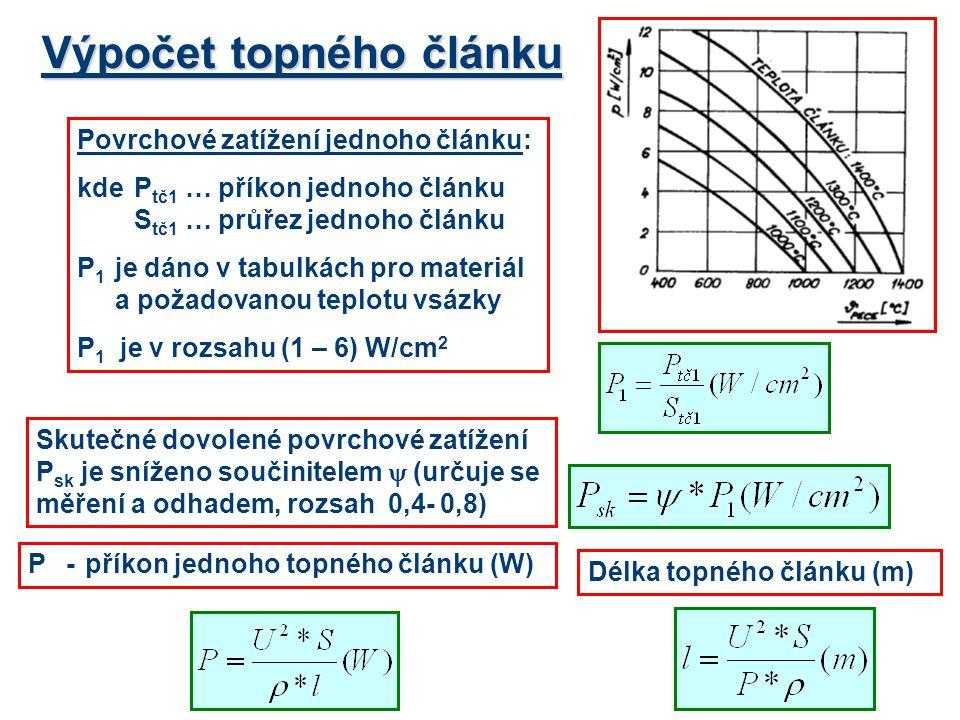 Výpočet topného článku P-příkon jednoho topného článku (W) Povrchové zatížení jednoho článku: kdeP tč1 …příkon jednoho článku S tč1 …průřez jednoho čl