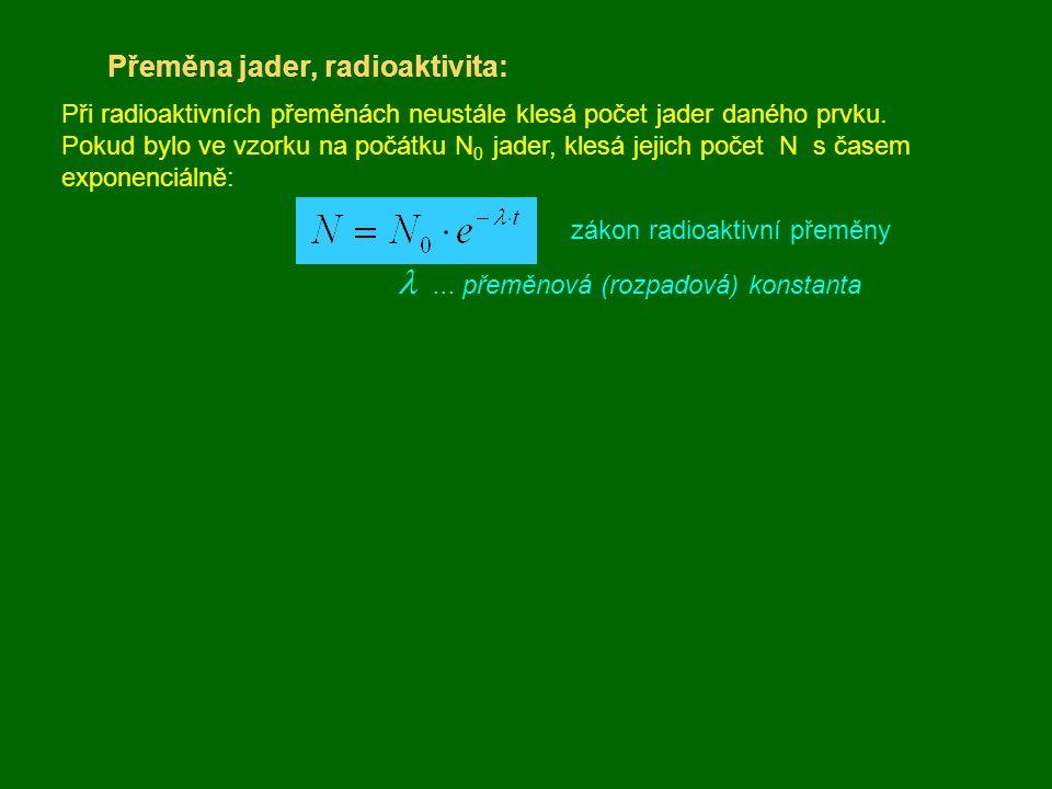 Přeměna jader, radioaktivita: Při radioaktivních přeměnách neustále klesá počet jader daného prvku. Pokud bylo ve vzorku na počátku N 0 jader, klesá j