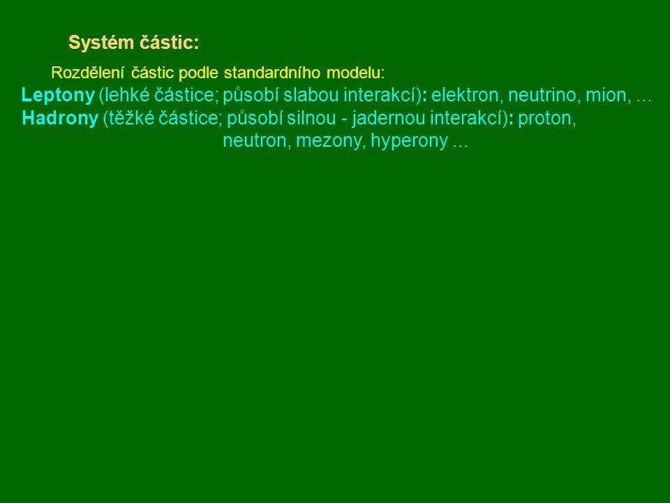 Systém částic: Rozdělení částic podle standardního modelu: Leptony (lehké částice; působí slabou interakcí): elektron, neutrino, mion,... Hadrony (těž