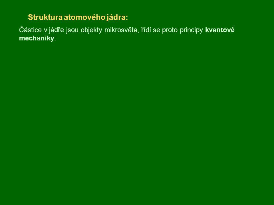 Přeměna jader, radioaktivita: Záření  : Proud kladně nabitých těžkých částic – jader helia (2 protony a 2 neutrony); atom se změní na jiný stojící o dvě místa před ním v periodické tabulce např.: Záření  : Proud záporně (  – ) nebo kladně (  + ) nabitých lehkých částic elektronů nebo pozitronů; atom se změní na jiný stojící o jedno místo za ním (  – ) resp.