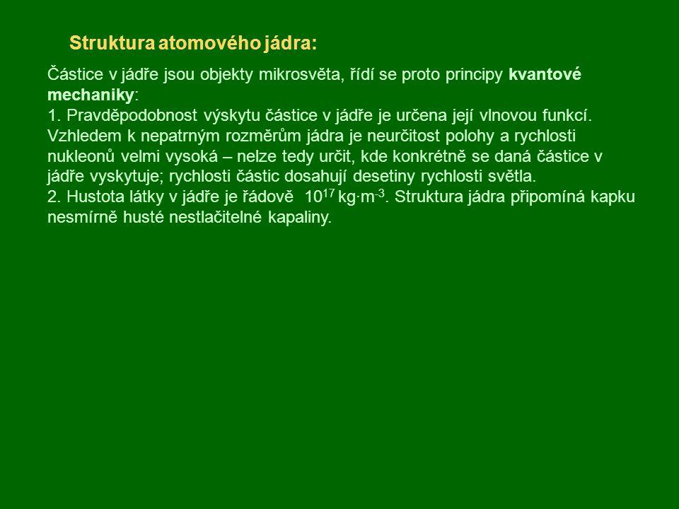 Přeměna jader, radioaktivita: Některá jádra se mohou samovolně přeměňovat na jádra jiných atomů, přičemž vyzařují různé druhy záření (přirozená radioaktivita – objevena H.