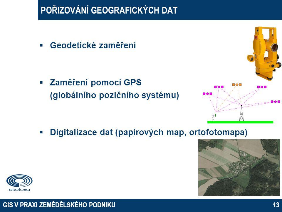 POŘIZOVÁNÍ GEOGRAFICKÝCH DAT  Geodetické zaměření  Zaměření pomocí GPS (globálního pozičního systému)  Digitalizace dat (papírových map, ortofotoma