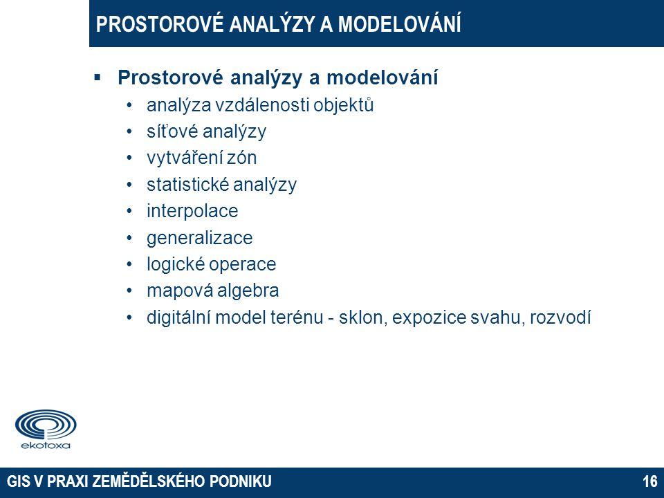 PROSTOROVÉ ANALÝZY A MODELOVÁNÍ  Prostorové analýzy a modelování •analýza vzdálenosti objektů •síťové analýzy •vytváření zón •statistické analýzy •in