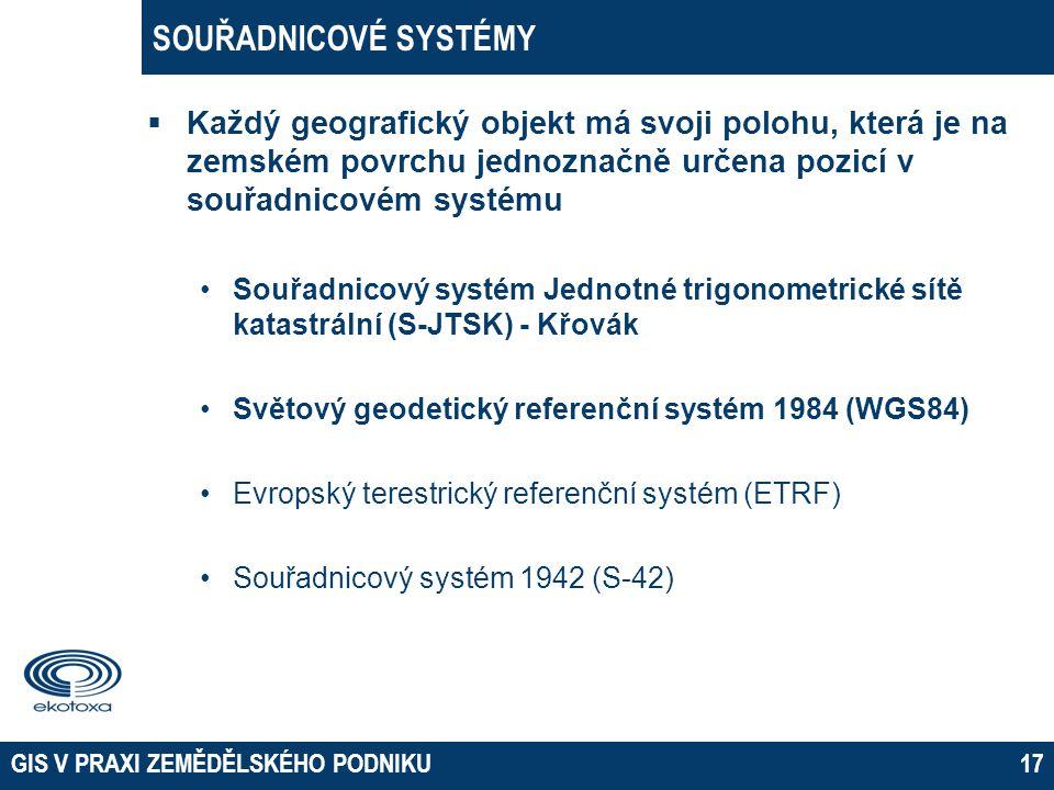 SOUŘADNICOVÉ SYSTÉMY  Každý geografický objekt má svoji polohu, která je na zemském povrchu jednoznačně určena pozicí v souřadnicovém systému •Souřad