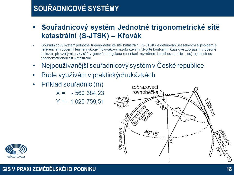 Souřadnicový systém Jednotné trigonometrické sítě katastrální (S-JTSK) – Křovák •Souřadnicový systém jednotné trigonometrické sítě katastrální (S-JT