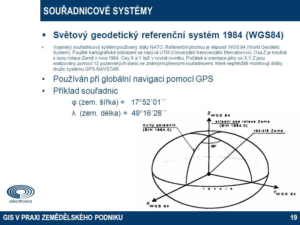  Světový geodetický referenční systém 1984 (WGS84) •Vojenský souřadnicový systém používaný státy NATO. Referenční plochou je elipsoid WGS 84 (World G